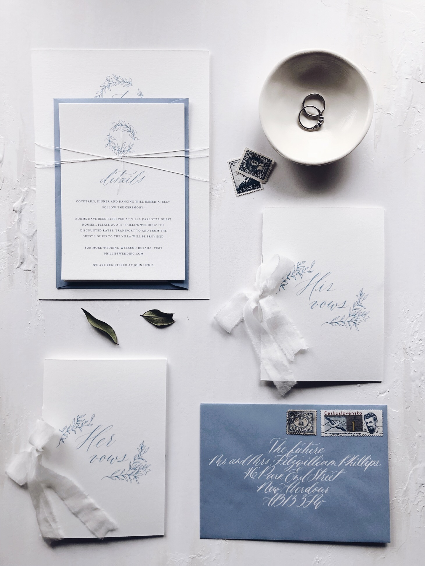 Dusky blue wedding invitations