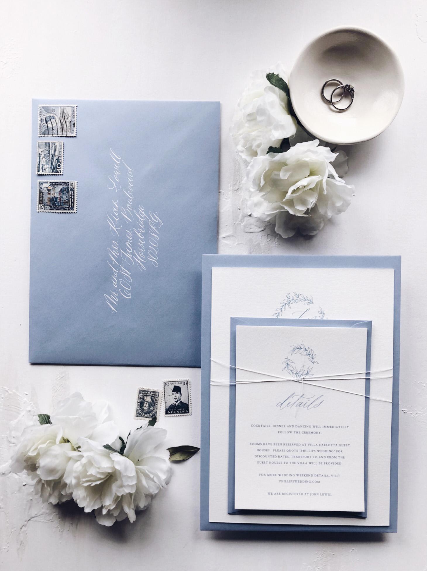 Wedding envelopes and personalised wedding stationery