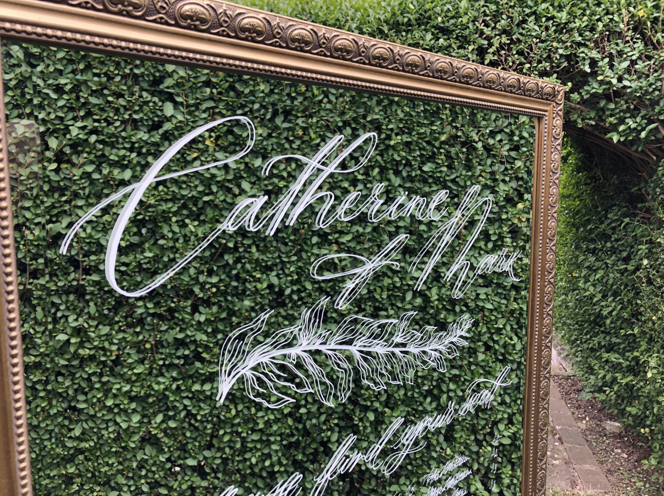 Handwritten mirror wedding sign