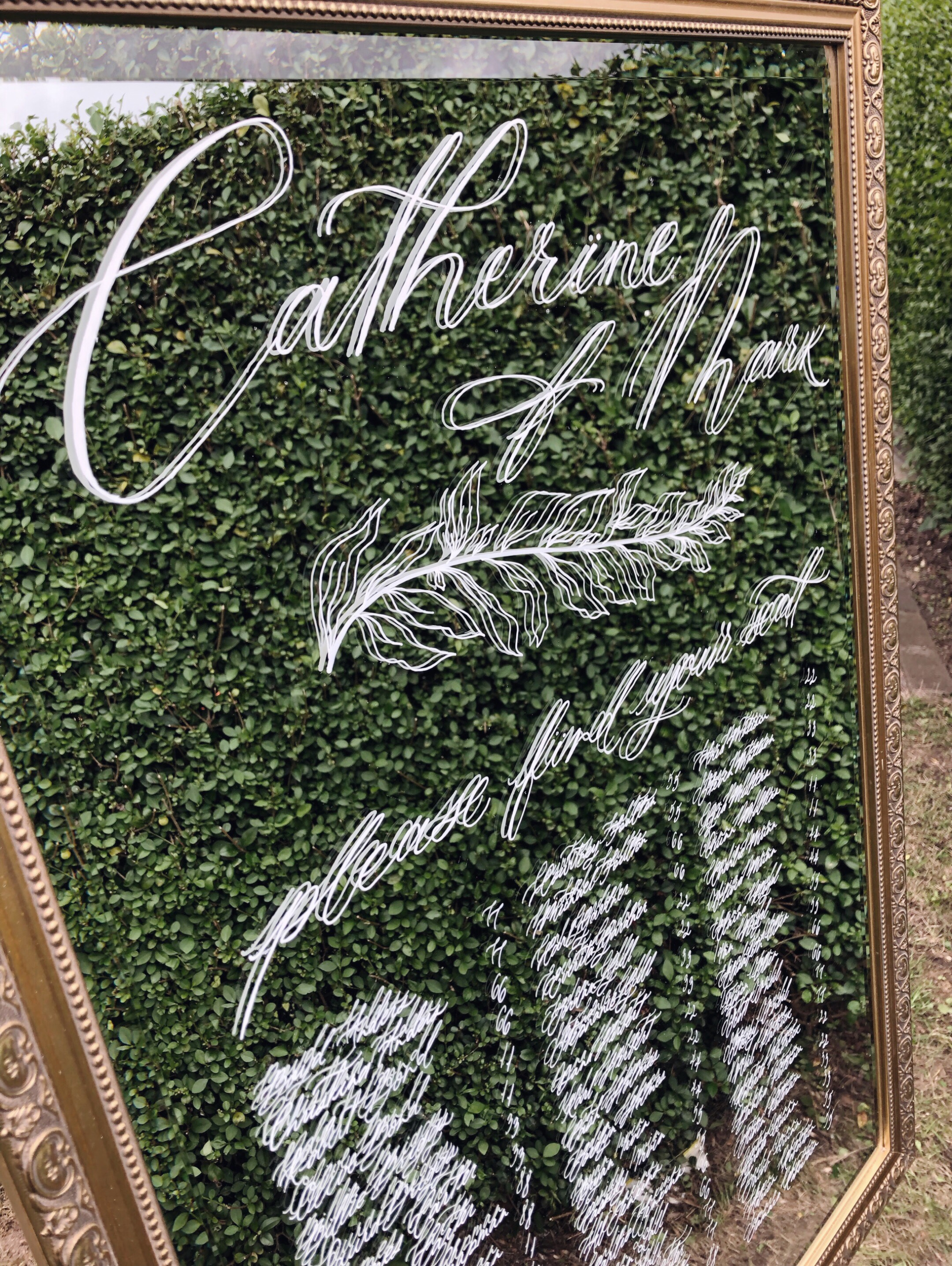 Handwritten mirror sign for a wedding