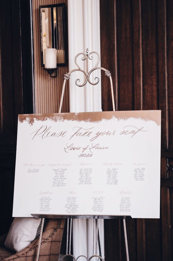 Calligraphy seating plan
