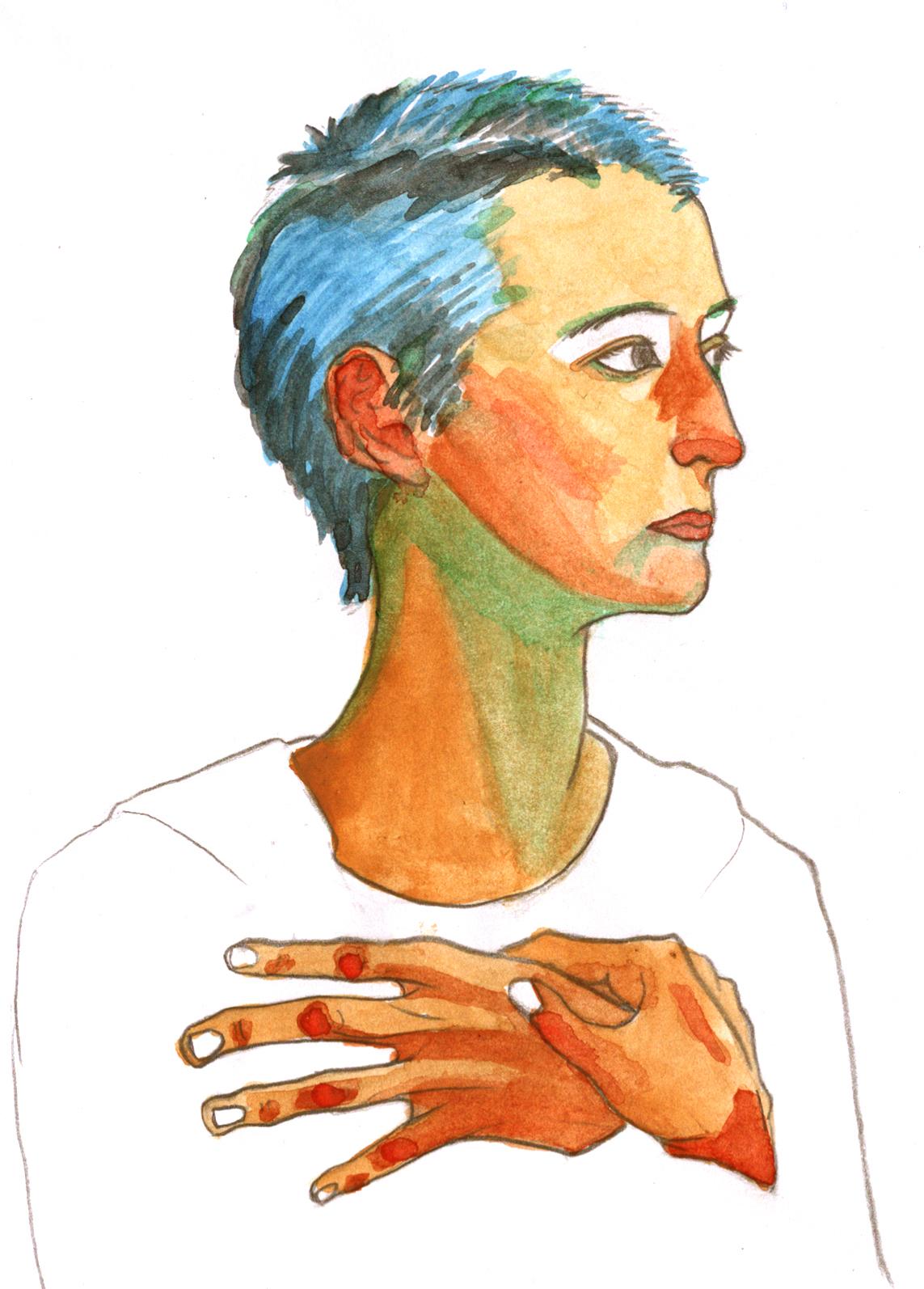 Self portrait (after   Egon Schiele  )