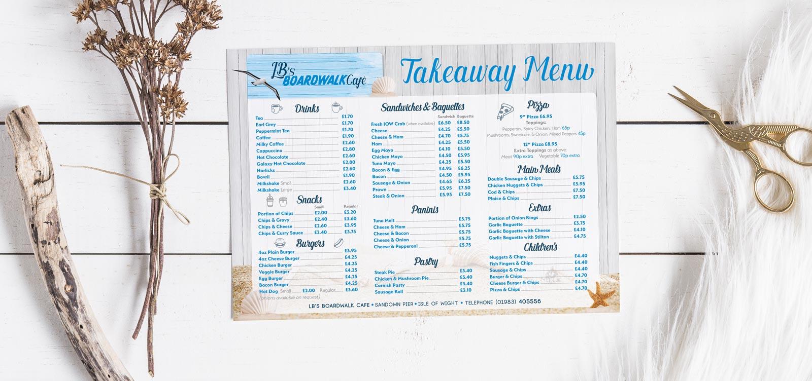 Boardwalk Takeaway menu