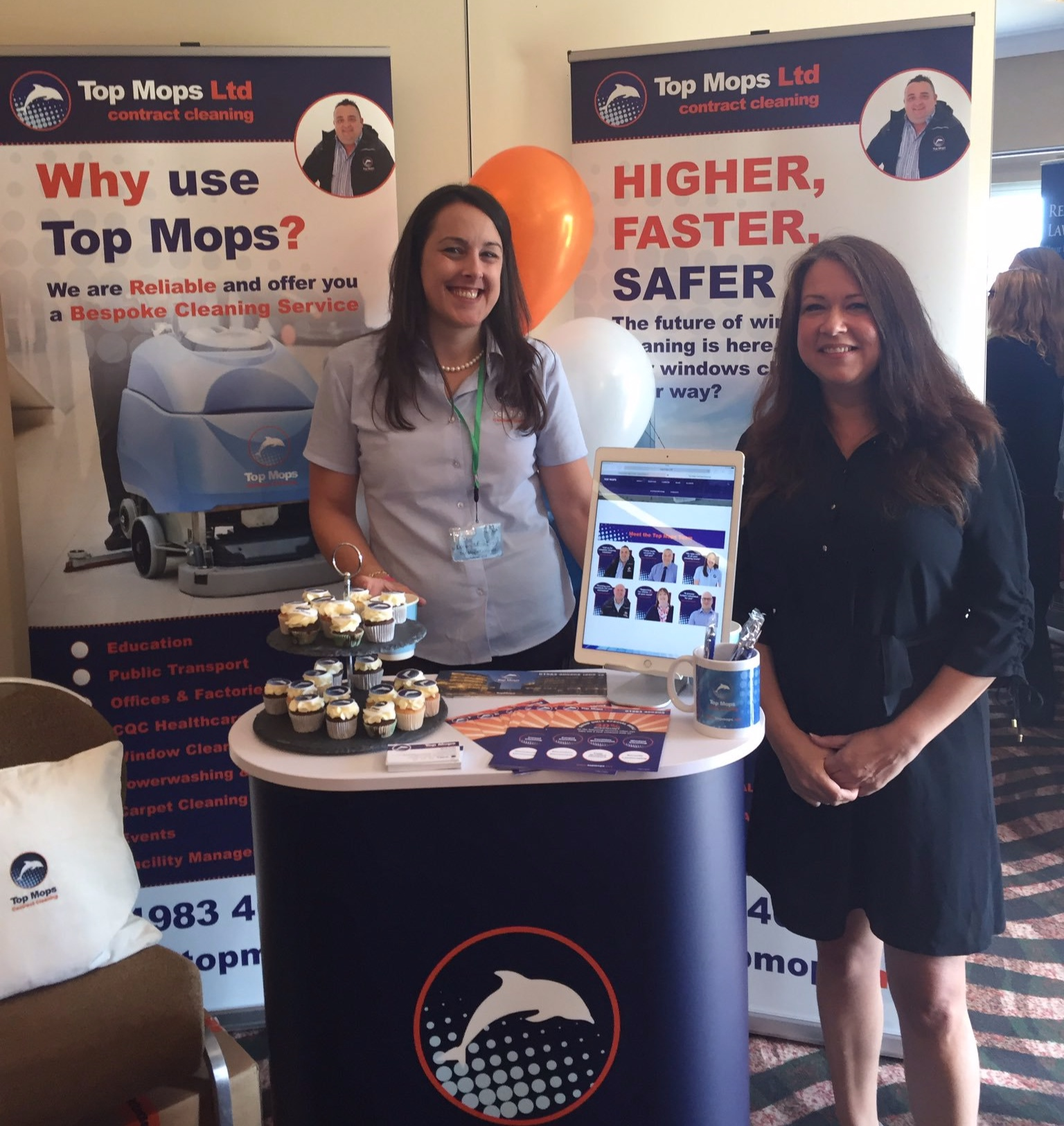 EXHIBITION MATERIALS - Reception desk, pull up banners, website, teaser cards, leaflets, business cards, promotional mugs, promotional pens, branded cakes… all staples of brand consistency when exhibiting.(Left: Loren, Top Mops. Right: Susan, Smart in Design)