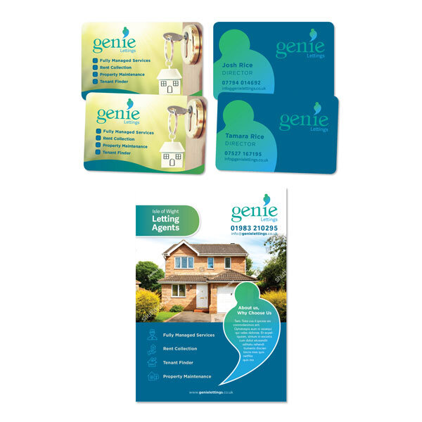 BRAND new - Brand new Isle of Wight business Genie Lettings wanted a style that would fit in with their existing branding; Genie Solutions and Genie Gas & Plumbing. We worked together to produce an array of essential marketing materials, business stationery and promo items.