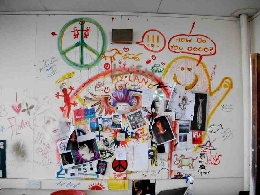 My work station during my time at sixth form in school. Our art teacher said we could put up pictures at our desks. That soon evolved into 'completely destroy the wall' with myself and the hand full of other students who actually stuck with art. I loved the hell out of this wall.