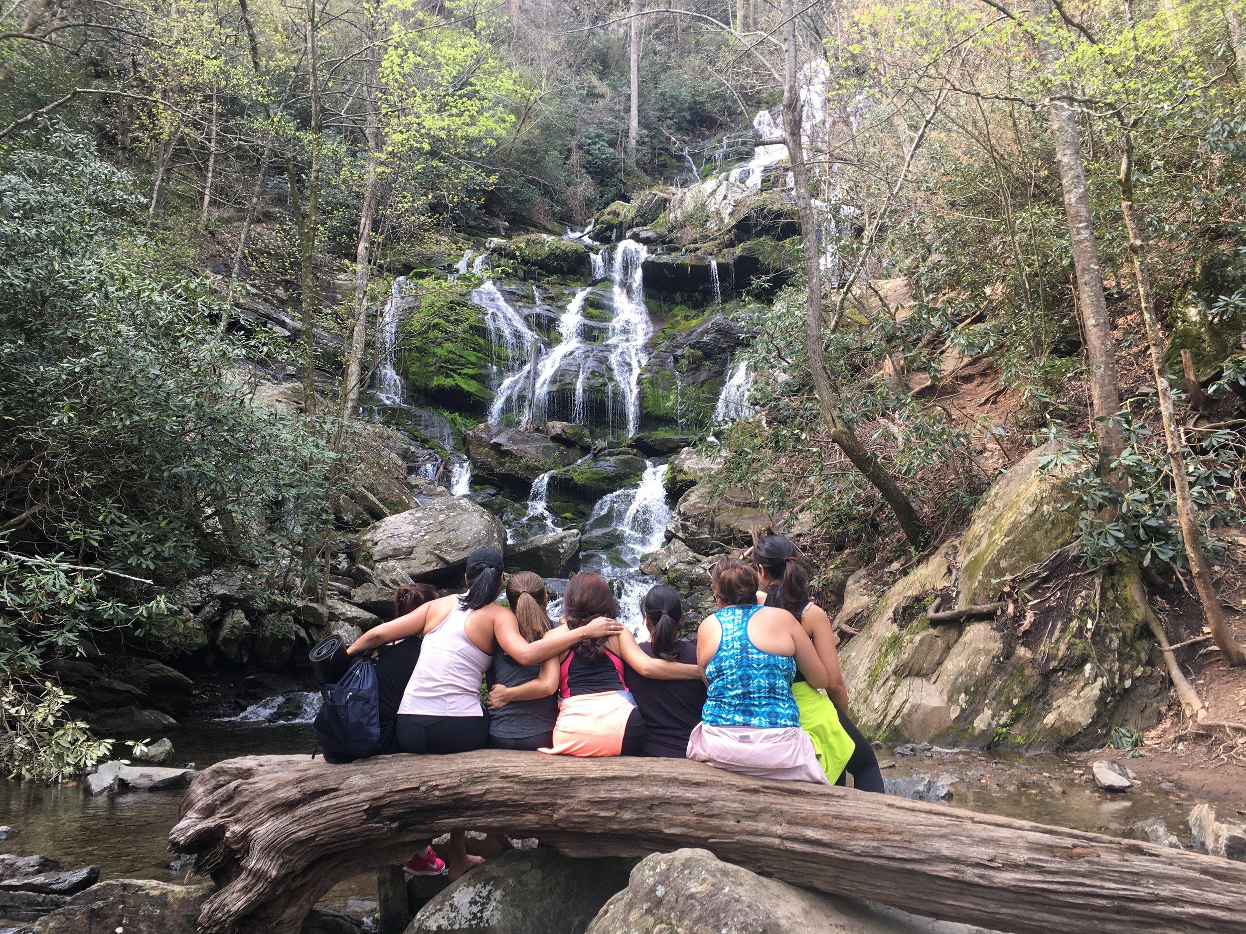 group waterfall hiking yoga western north carolina.JPG