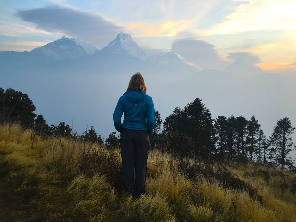 Sunrise trek to Ghorepani-Poon HIll on the Annapurna Circuit in the Himalayas of Nepal