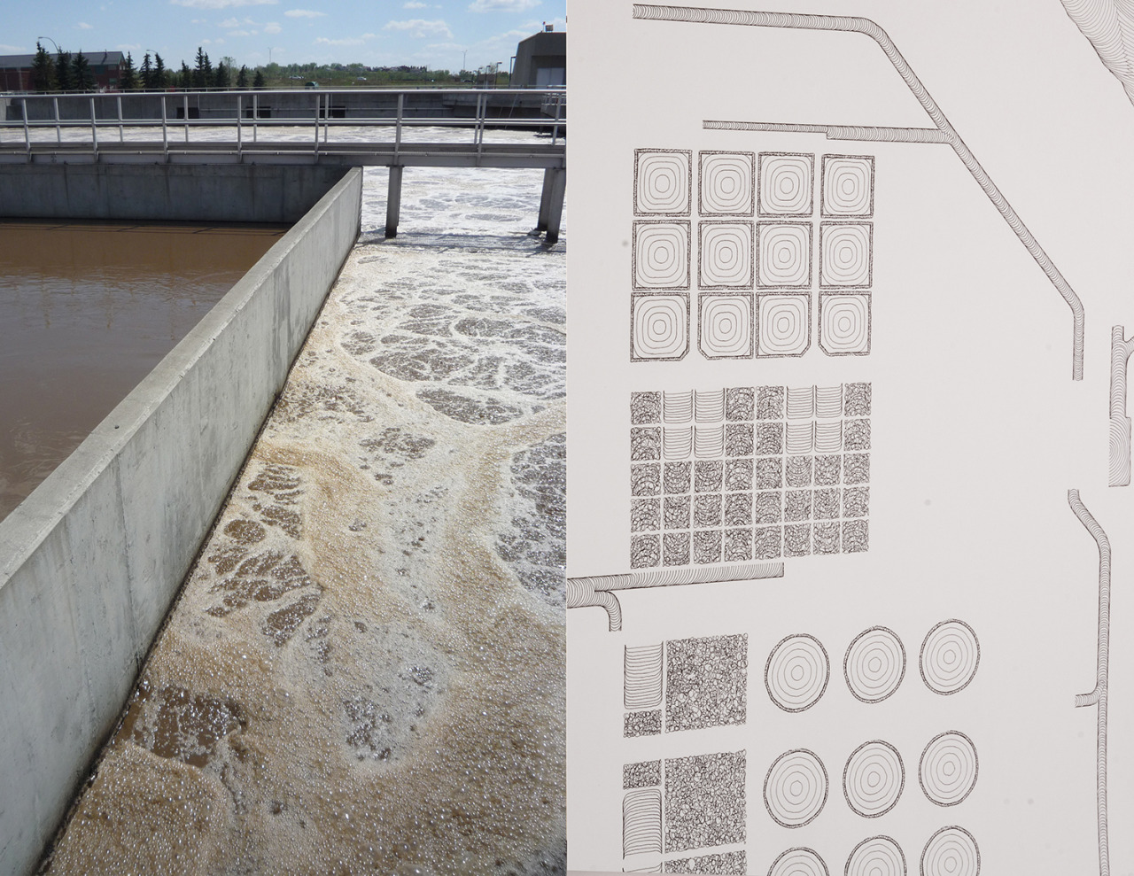 Pages from  Only Flow  publication in support of TRUCK show.  With the help of The Water Centre staff I chose a specific area of SE Calgary to begin two large scale drawings. It included the Bonnybrook Waste Water Treatment facility where I spent time observing the flows of different treatment processes.