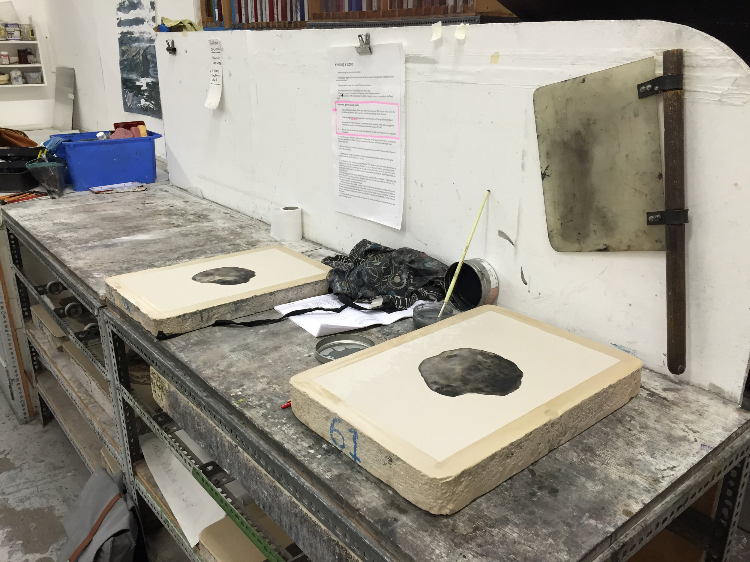 Drawing asteroids on litho stones at Edinburgh Printmakers; imagining the Manicouagan asteroid.