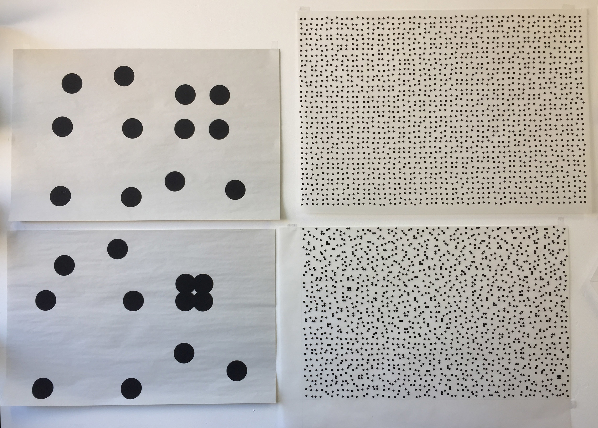 Studio wall, screen prints of two controlled disorders. Marie's research looks at why different different levels of disorder within a surface pattern affect cell response.