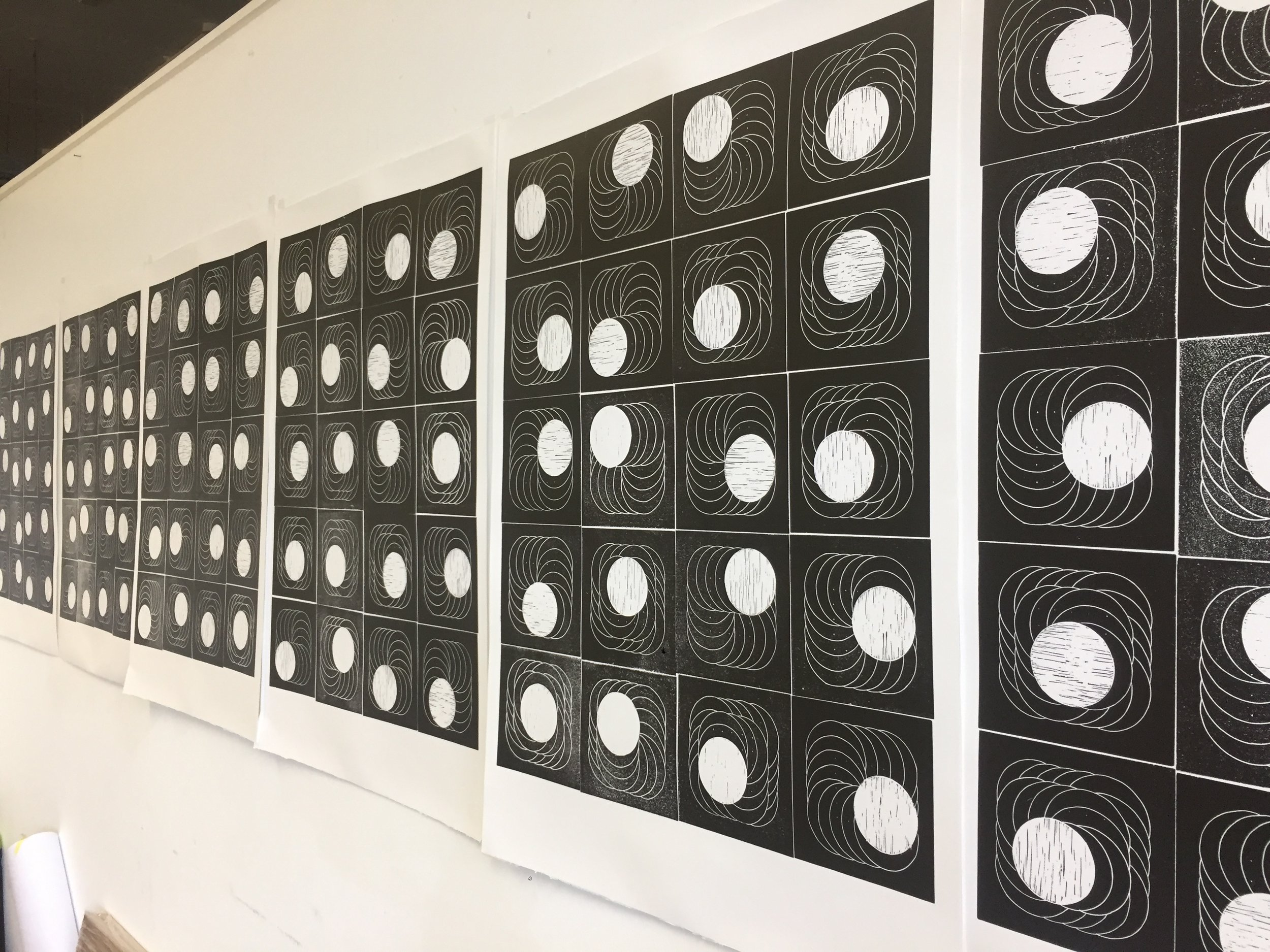 Series of lino cuts - controlled disorder dot pattern/electrobeam lithograpy.