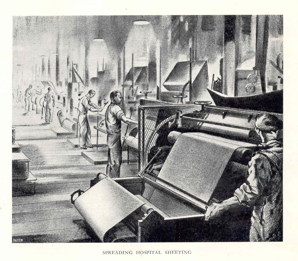 The photos and illustrations of workers tending the machines reminded me of printmakers at their printing presses. Calenders were used to flatten the raw material of rubber into sheets using a series of huge rollers. These cylindrical rolling shapes also appear in traditional and contemporary printmaking practice; in printing presses used in intaglio and relief printing. The repetitive action of rolling is also used in inking up a roller for relief printing, and rolling ink onto a lithography stone or plate. Many of the finished products coming out of the factory were packed, transported and presented in rolls – sheeting, mats, flooring – in the same way etching blankets and some papers are stored in the print workshop.