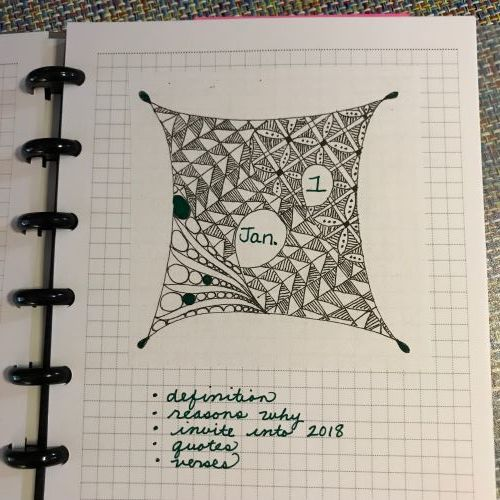Zentangle with Spaces for Month Labels - I made a bunch of copies of this Zentangle. Then, I just filled in the month and glued it in my journal. Lately, I don't spend a lot of time doing a different divider for each month.