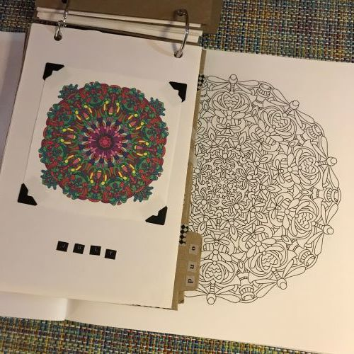 Reduced and Copied Coloring Page - I love coloring, especially when I've figured out a way to use all those coloring pages when I'm done. I just made reduced copies and used them for my OLW monthly dividers. Oh la la.
