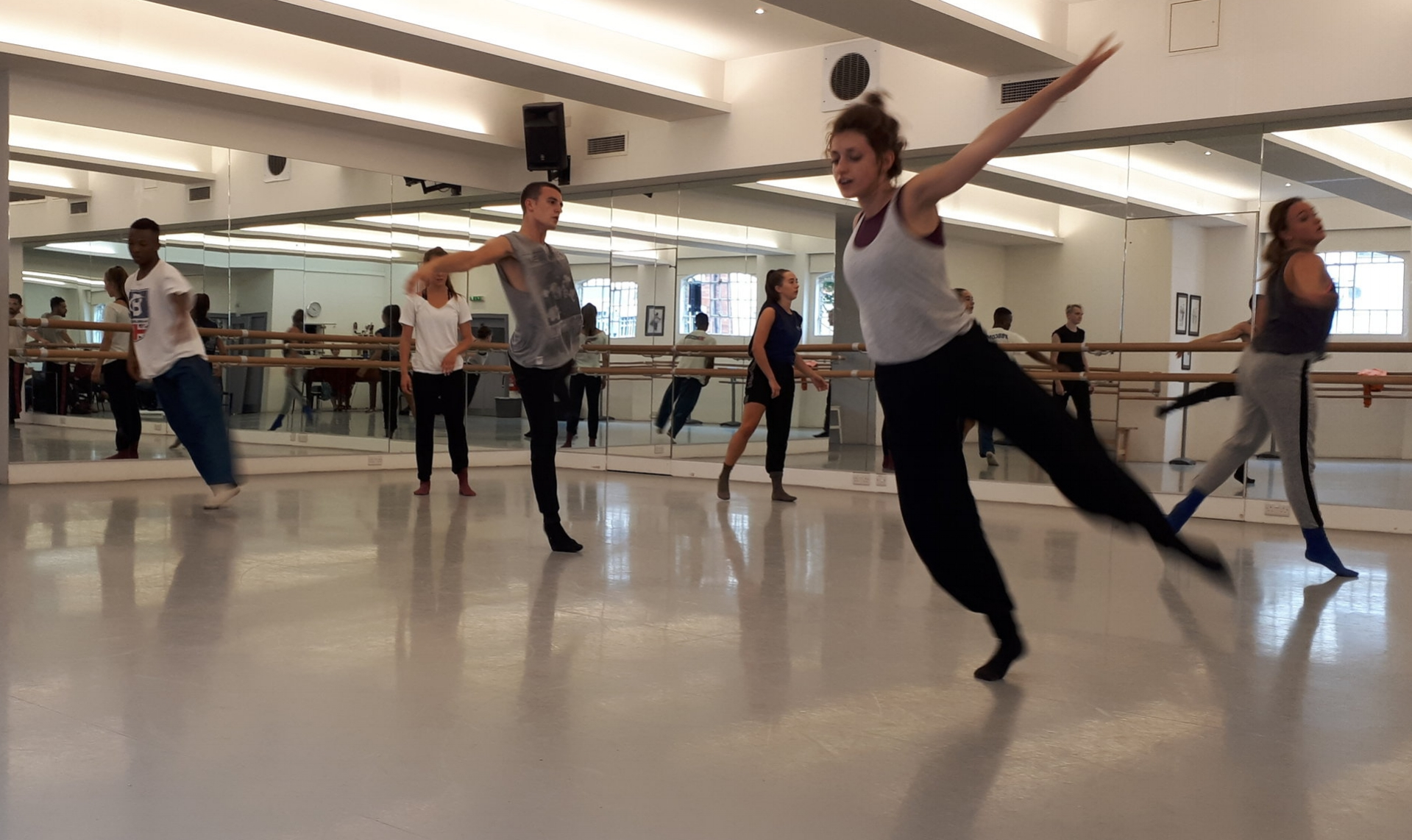 contemporary workshop with students from rambert school