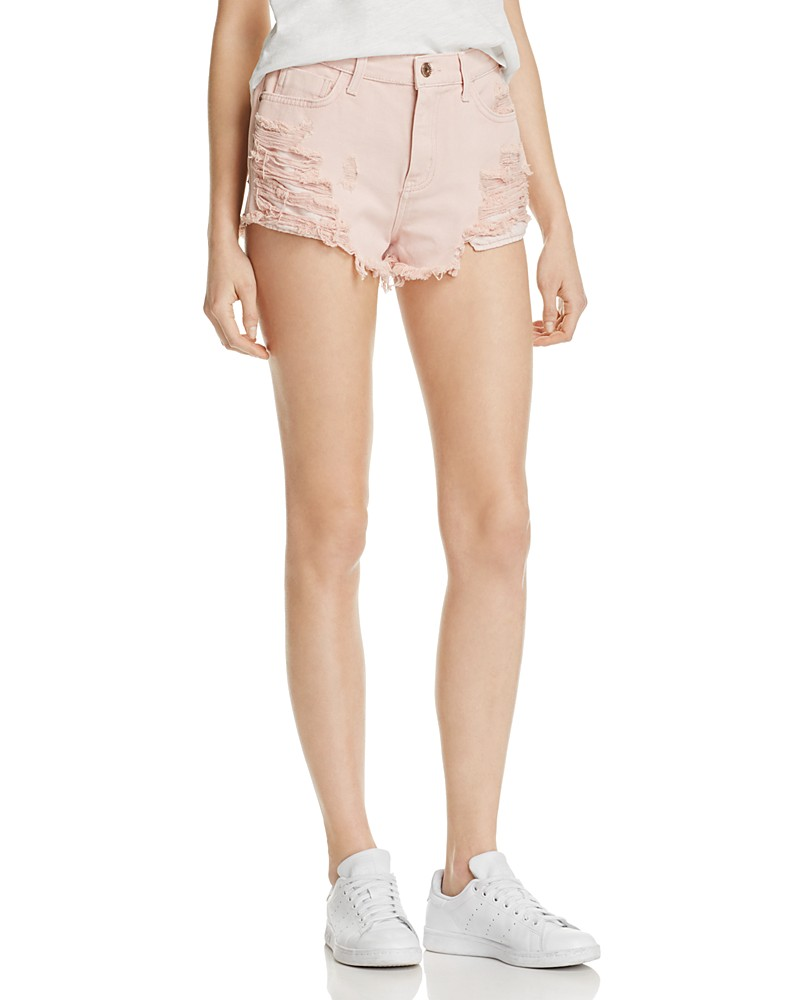 Pistola Nova Distressed Cutoff Shorts in Rose Quartz