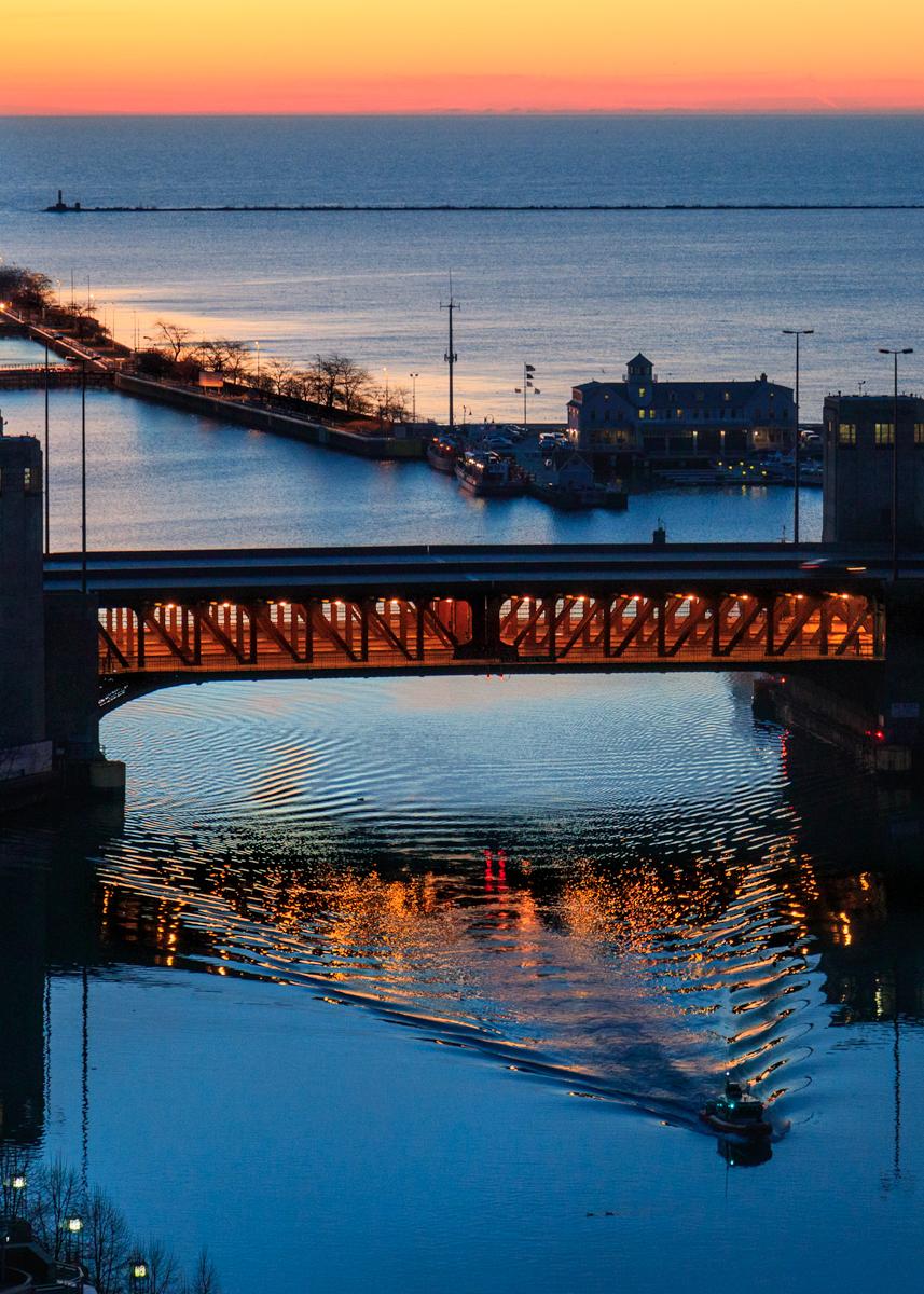 Lake Shore Drive bridge sunrise