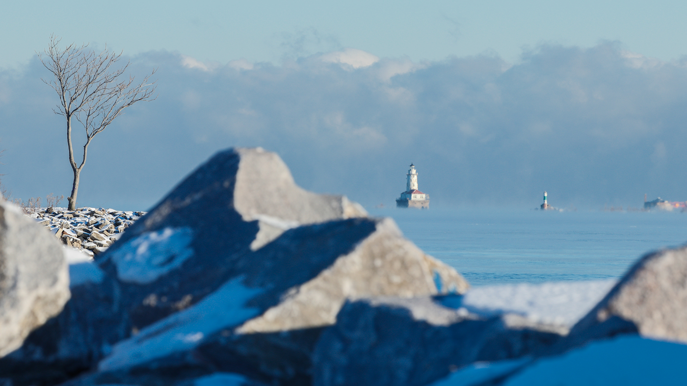 Lighthouse and water crib Lake Michigan from Northerly Island