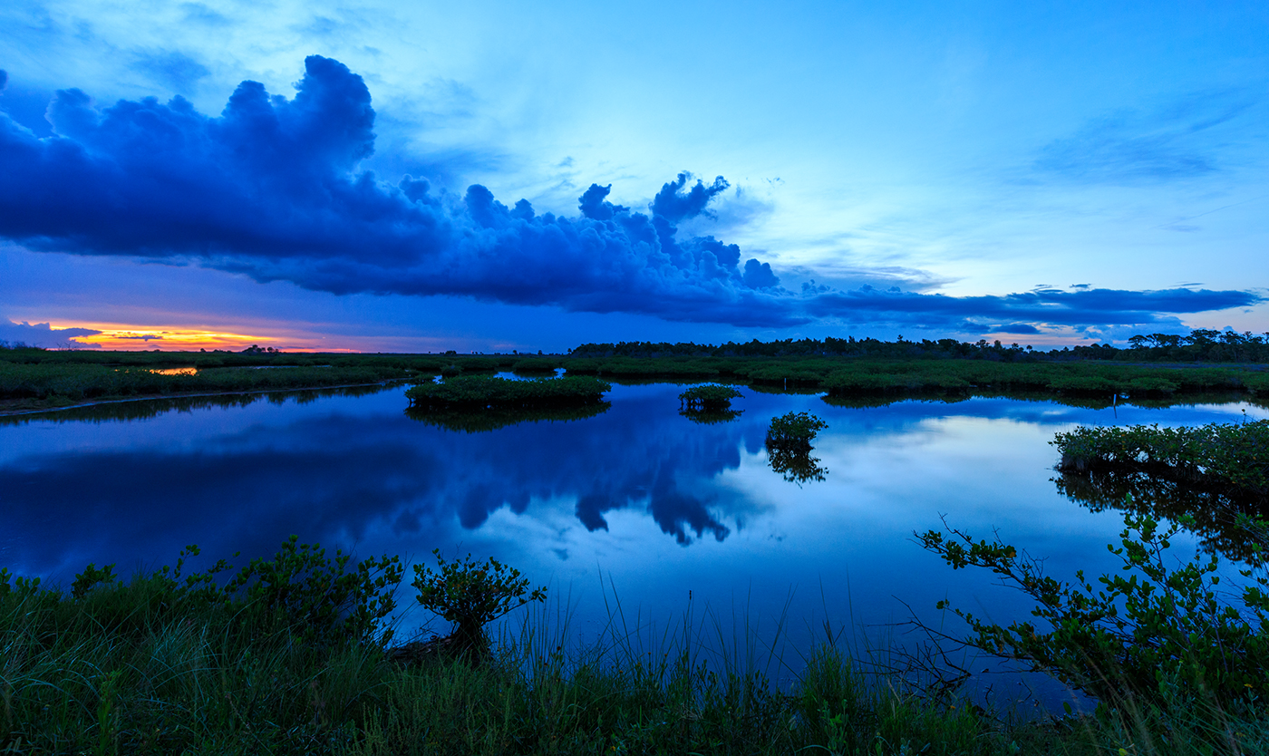 Blue hour dusk, Merritt Island National Wildlife Refuge, Florida