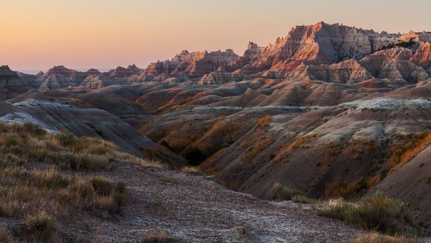 Badlands peaks at dusk
