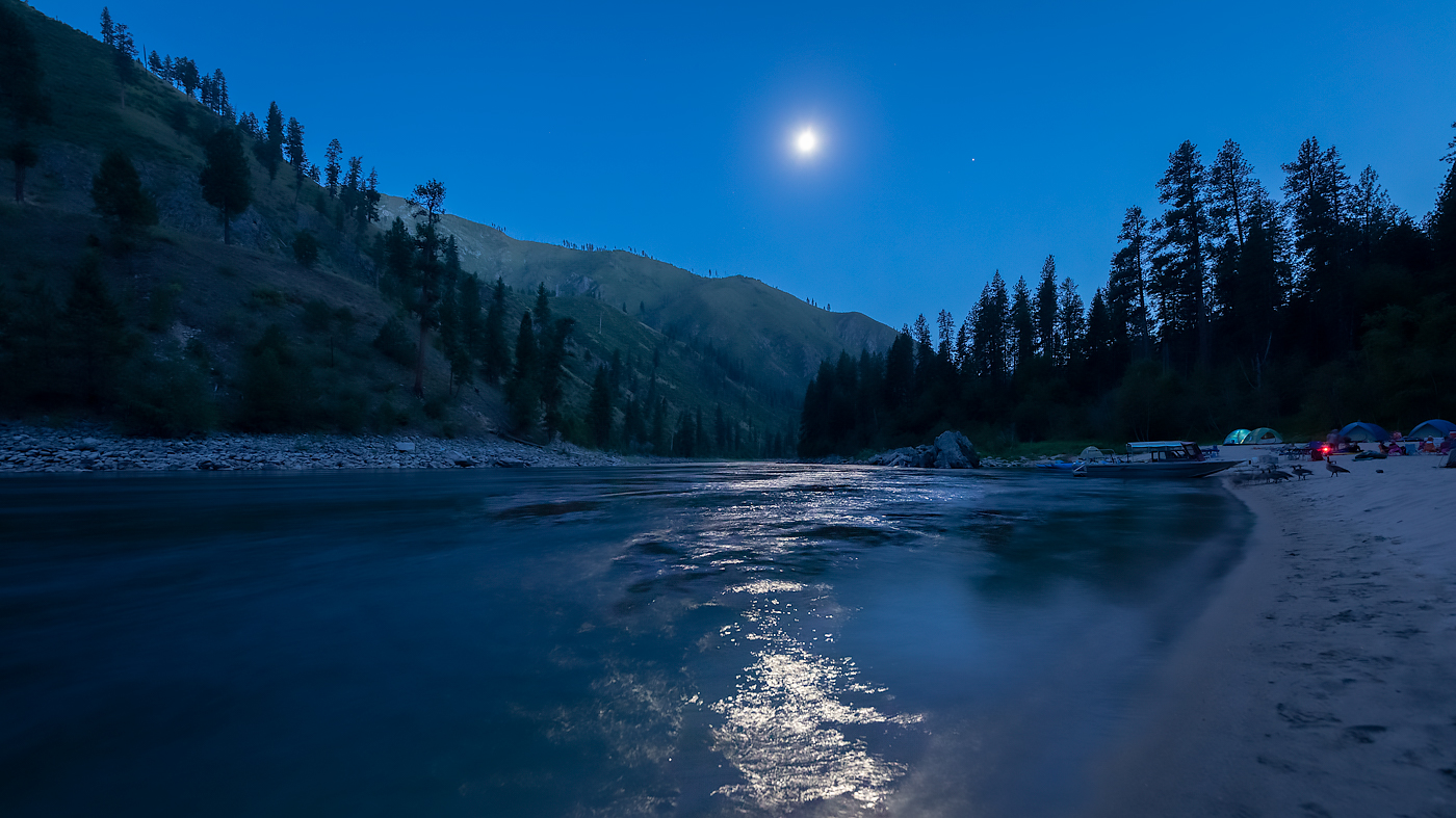 Moon and Jupiter above the Salmon River
