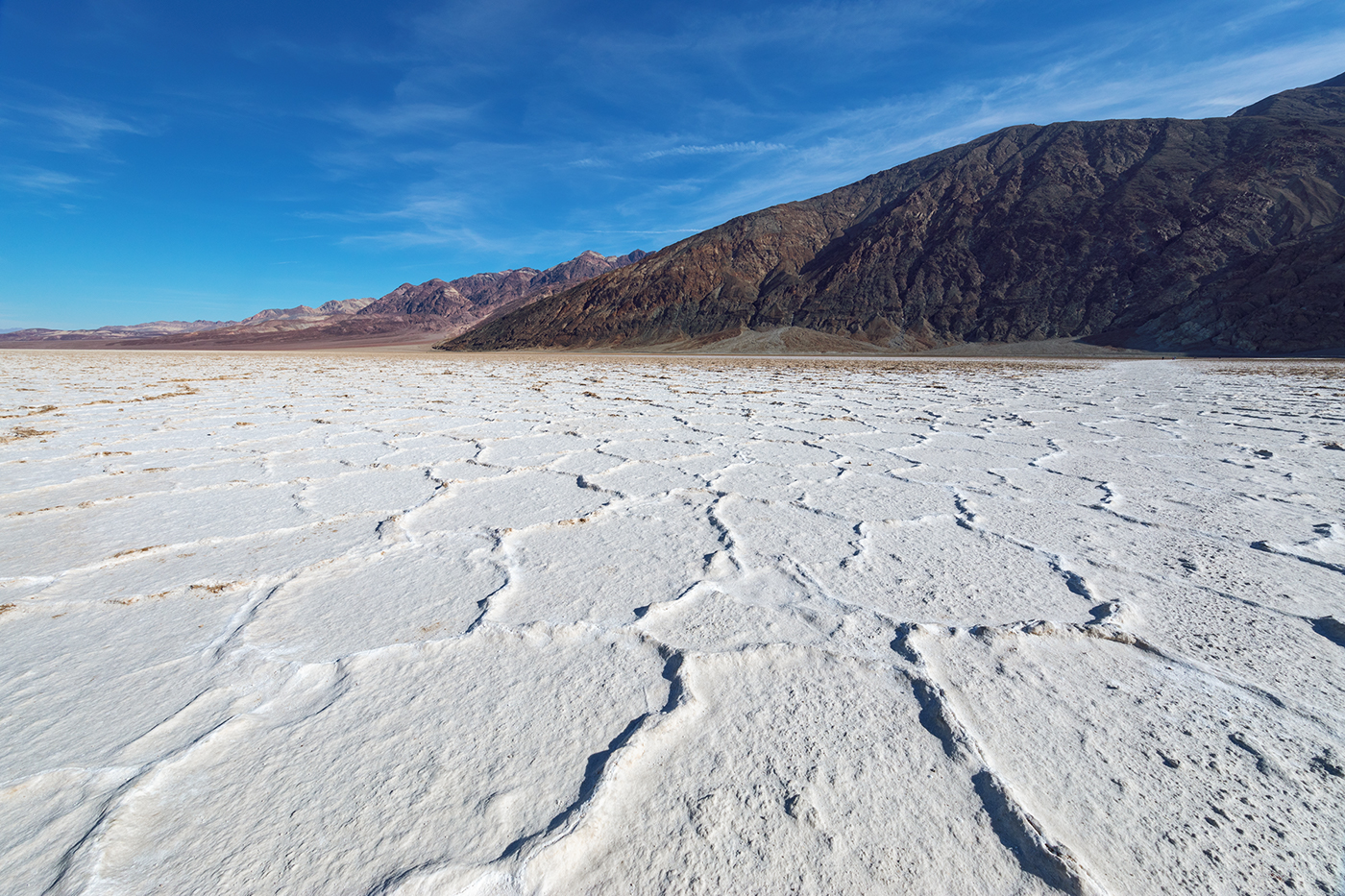 Badwater Basin salt fractals and Black Mountains