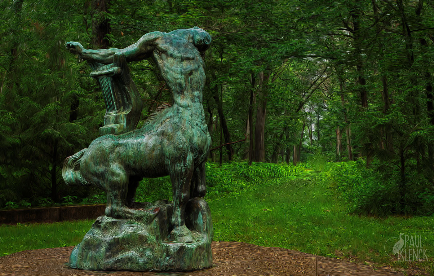 Woodland trails and Death of the Last Centaur by Emile-Antoine Bourdelle
