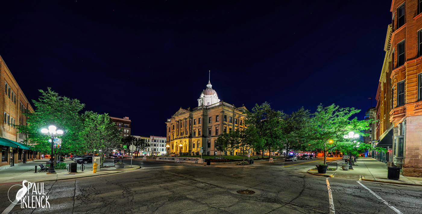Night streetscape in Bloomington, Illinois