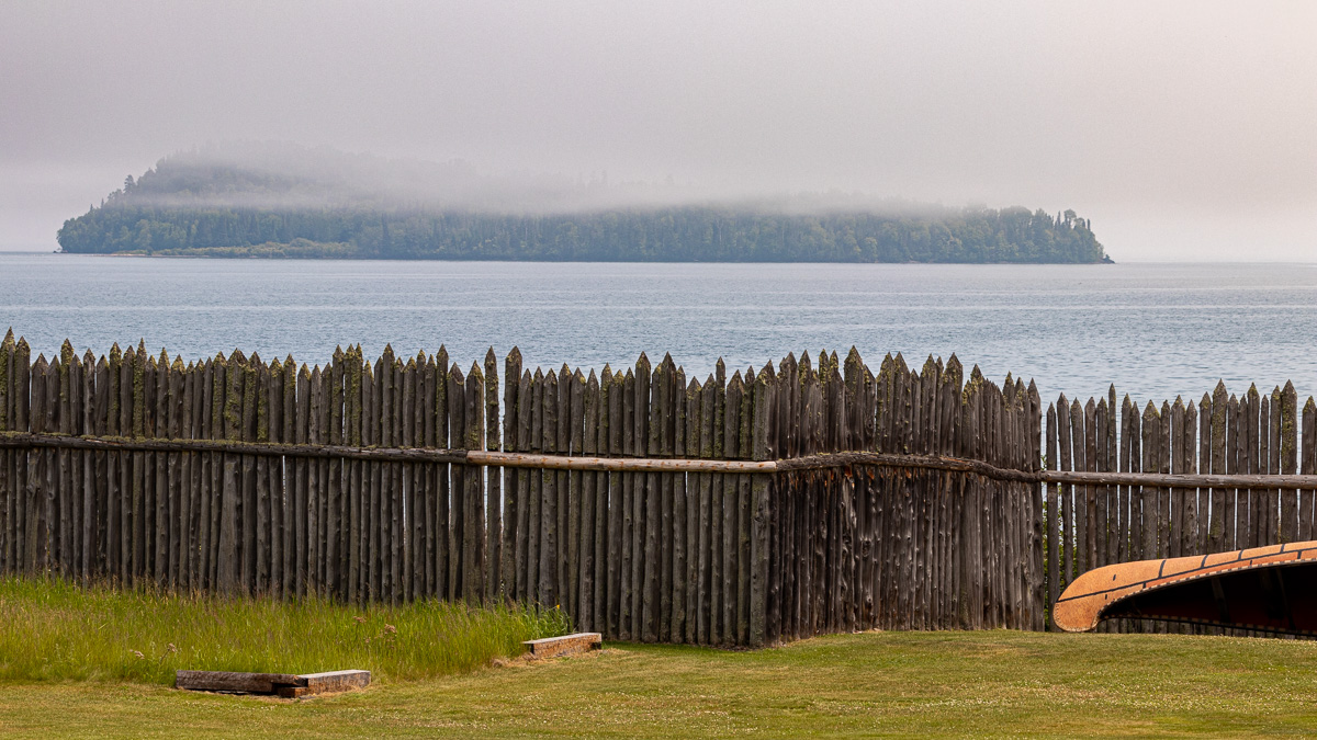 Palisade and canoe along Lake Superior
