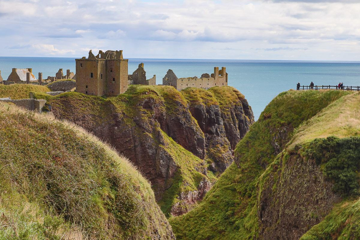 Dunnottar Castle headlands - the tall Keep in the foreground