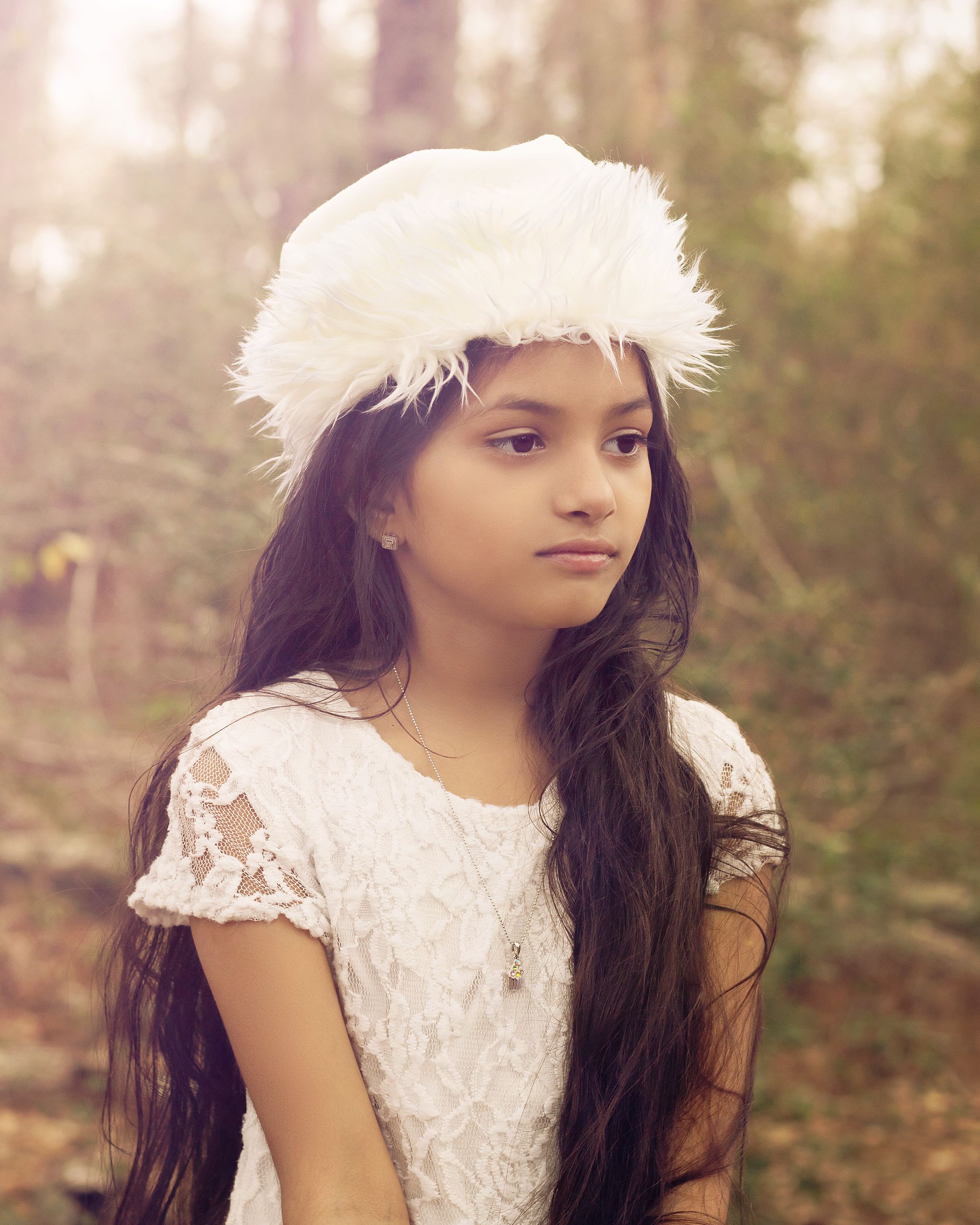 Young girl dressed in white