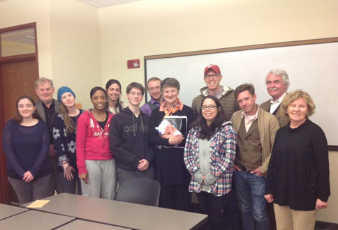 Professor Patricia Coughlan with graduate students from Contemporary Irish Literature, April 29, 2014
