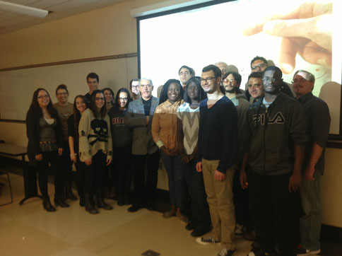 Poet and critic Theo Dorgan with students from Modern Poetry to T. S. Eliot, October 31, 2013