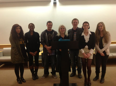 Paula Meehan, Ireland Professor of Poetry, with students from The Art of Poetry, October 31, 2013