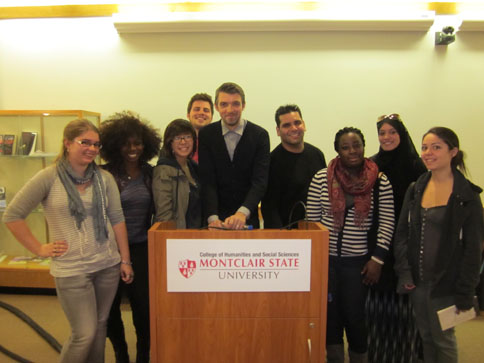 Poet Nick Laird with students after his reading, October 18,2012