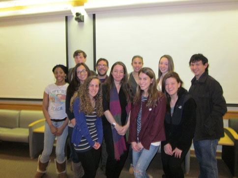 Poet Saskia Hamilton meets with students after her reading, February 23, 2012