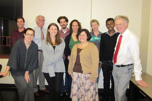 Professor Nicholas Grene with students from the Modern Irish Drama (graduate) seminar, November 8, 2011