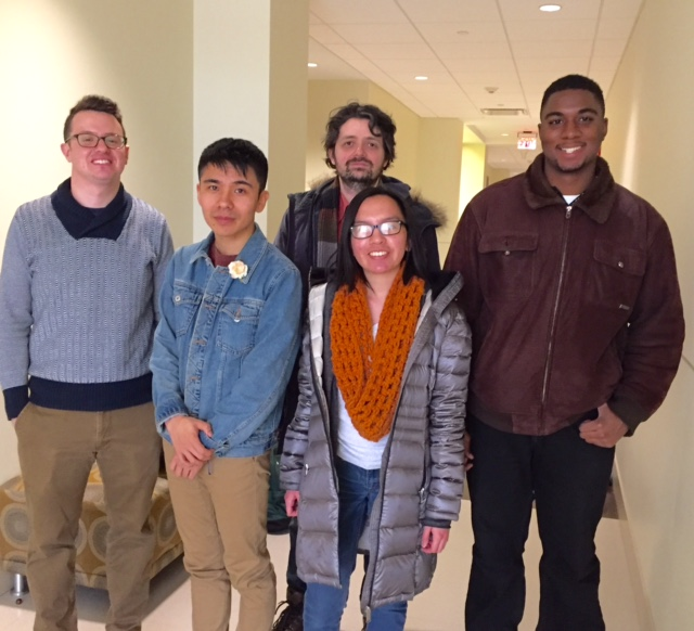 Poet Ocean Vuong with students from The Art of Poetry, February 2017
