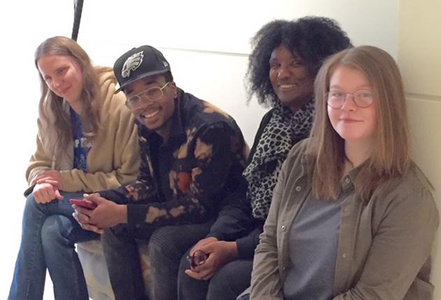 Poet Harryette Mullen with students from the Women Poets class, April 2018