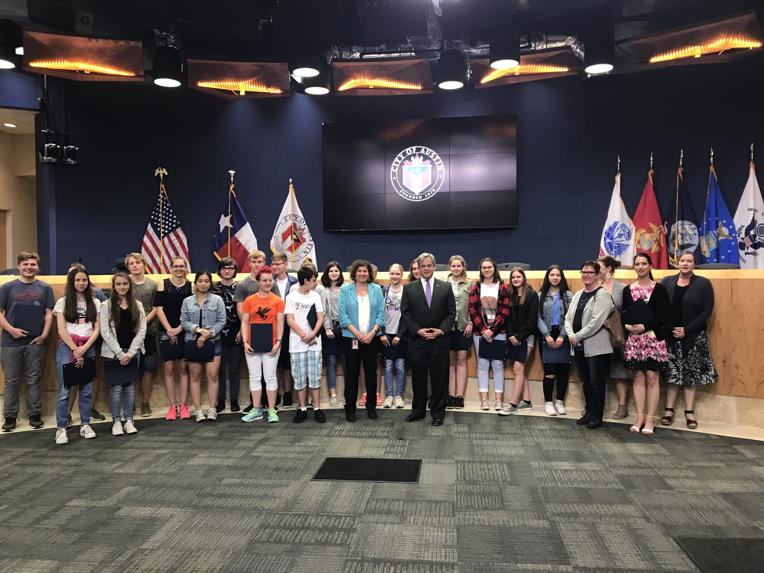 On Thursday, March 22, Mayor Steve Adler and Council Member Alison Alter recognized the Austin-Koblenz Secondary Student Exchange and its 27 years of operations. The Koblenz students were awarded certificates as Honorary Austin Citizens and the Austin host students were given certificates of appreciation for being ambassadors for Austin.