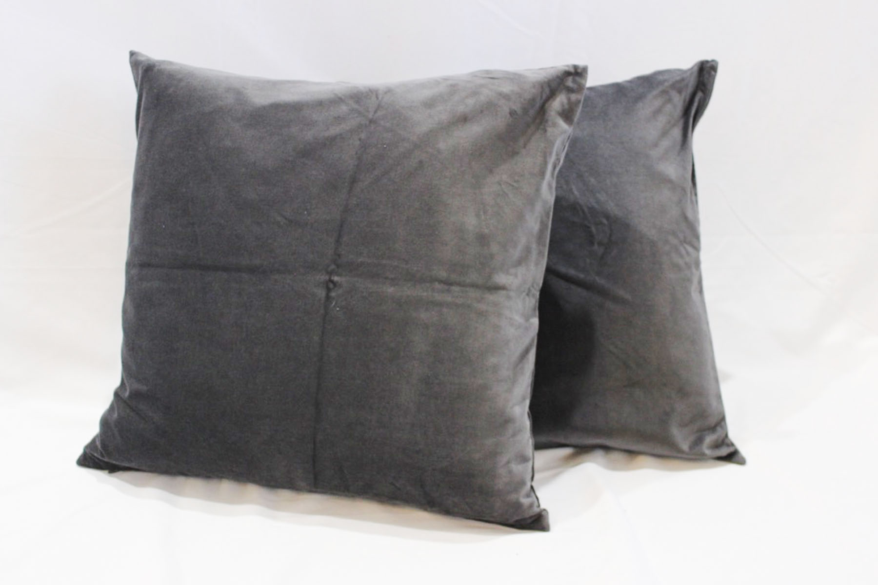 Gray Velvet Pillows - Scavenged Vintage