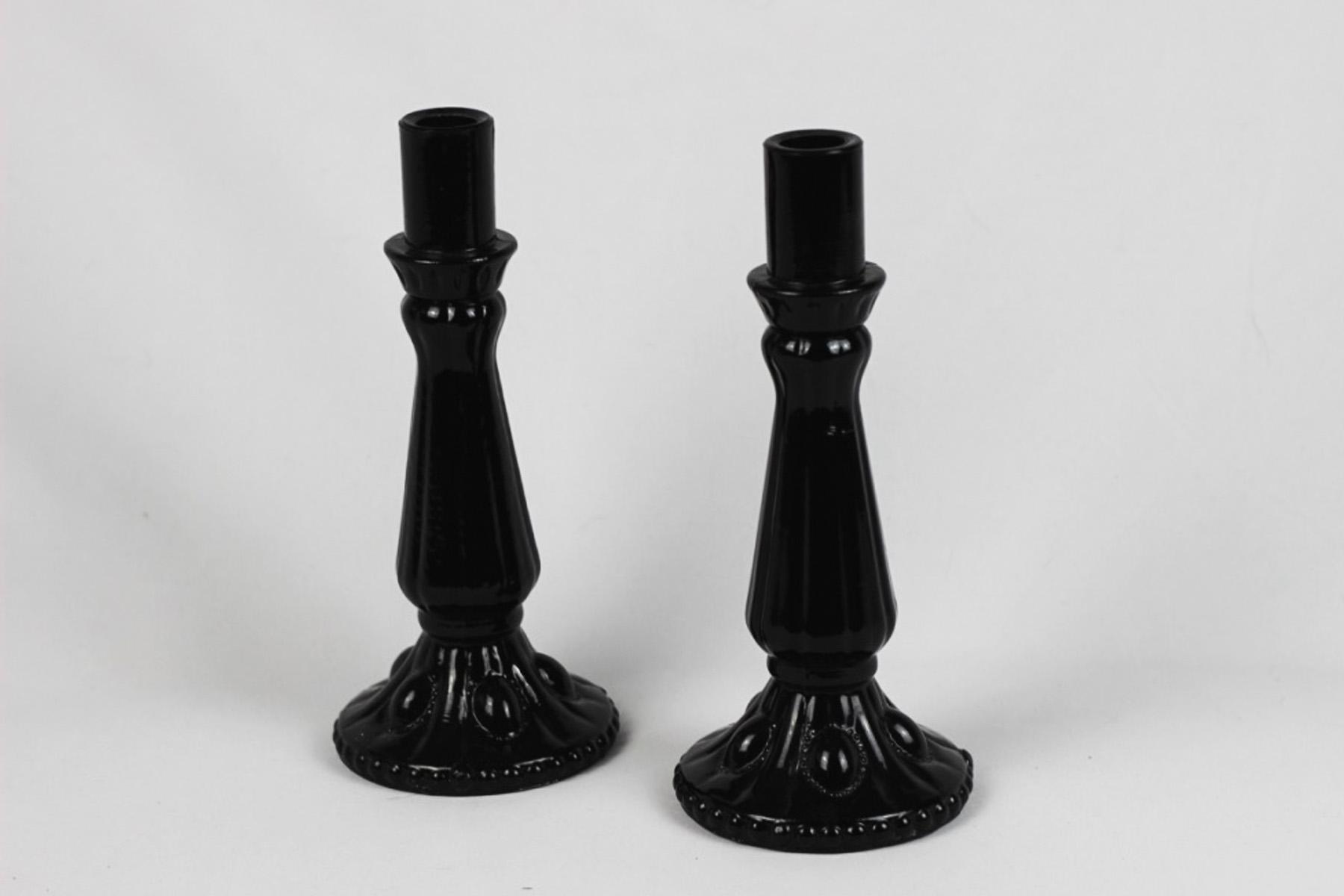 Black Glass Candlesticks - Scavenged Vintage Rentals