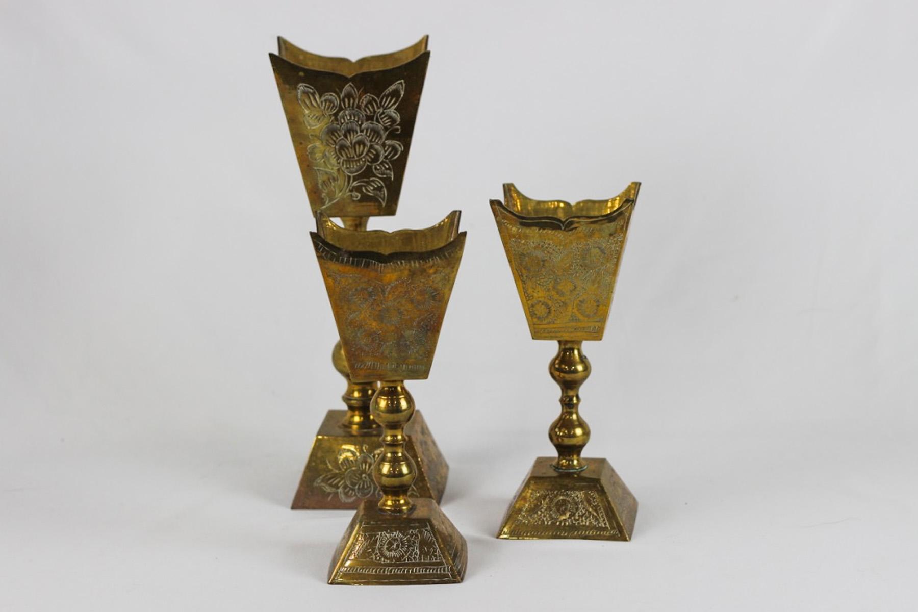 Tall Brass Vases - Scavenged Vintage Rentals