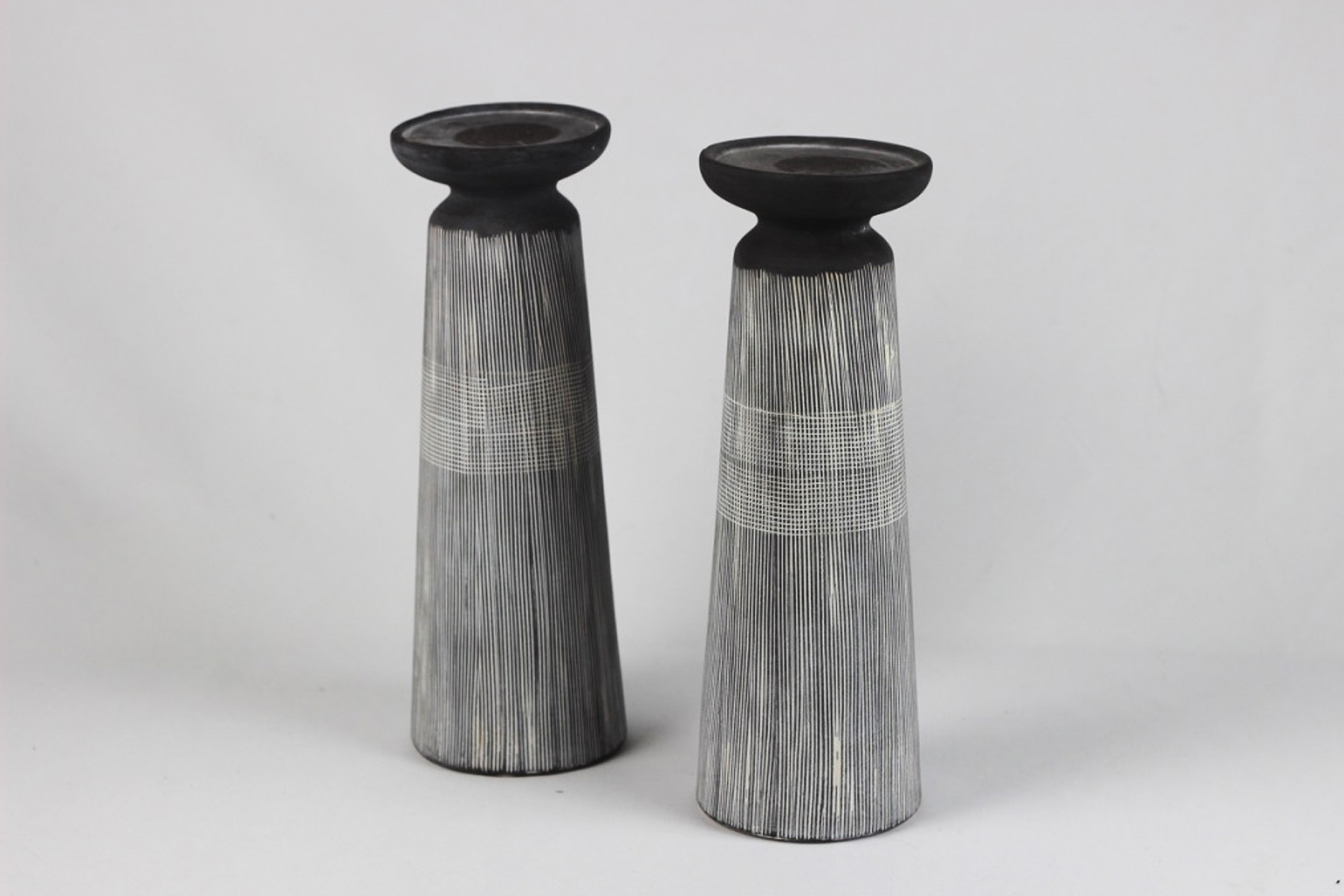 Gray and White Candle Holders - Scavenged Vintage Rentals