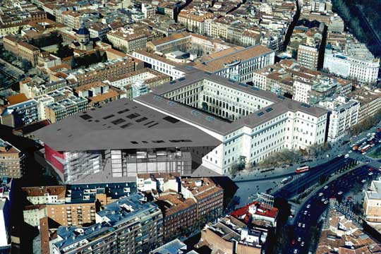 The museum from above, on the left you can see the new extension and the existing building on the right.