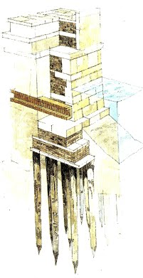 Example illustration of the wooden piles, packed closely together.