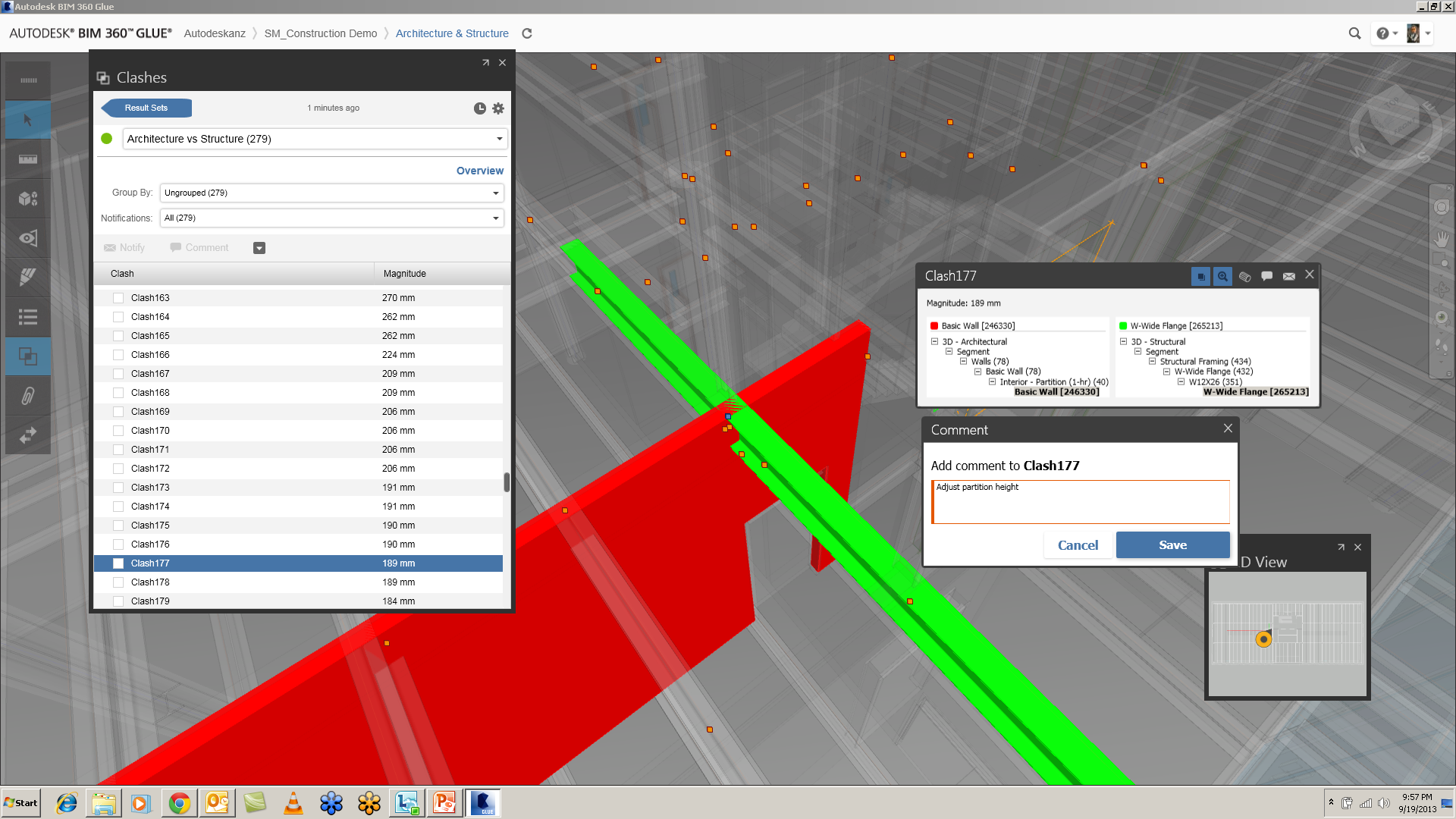 Clash detection software by a program called Navisworks (Autodesk) here we can see an interior wall that is clashing with a structural beam.