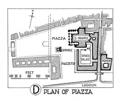 Note that the water's edge is located on the South, visitors see the Doge's palace as they enter the city first. St Mark's Basilica is located behind the Doge's palace.