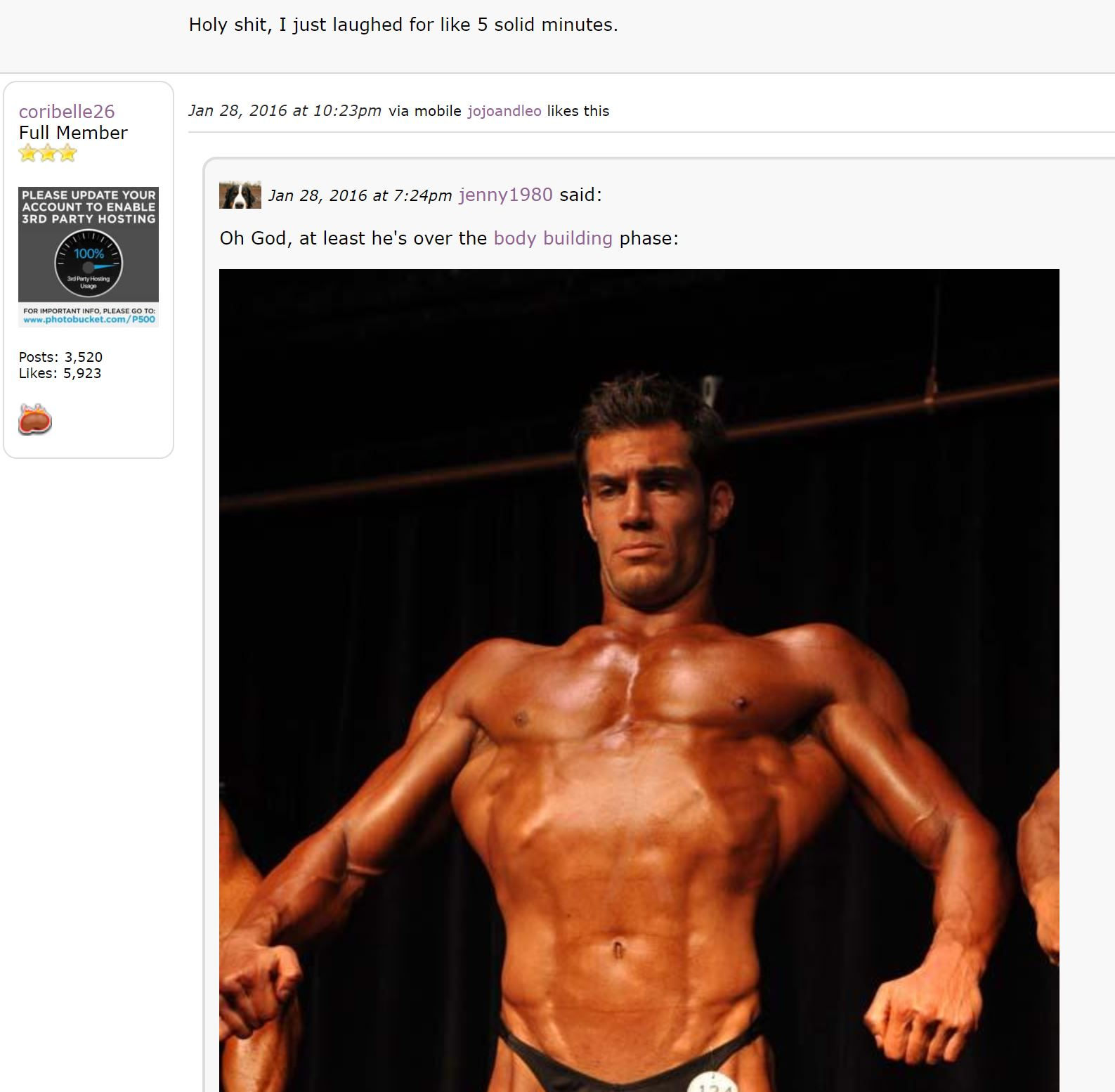Apparently he had a body building stage...